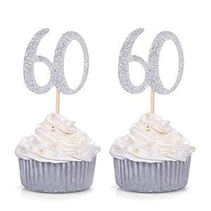 Giuffi 24 件套 60 岁生日纸杯蛋糕装饰派对装饰 - 由 银色 60th-24SS