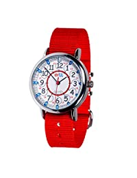 EasyRead Time Teacher 兒童手表,紅色藍色,12/24 小時臉,紅色表帶