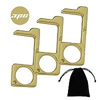 3 件套无触黄铜钥匙扣开门工具,保持双手清洁无触黄铜钥匙开门器,便于携带和用于按压升降按钮形状的钥匙
