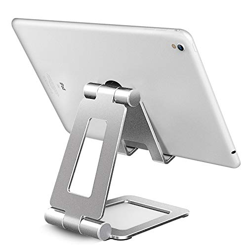 可调节 iPad 支架,平板电脑支架,手机支架,iPhone 支架,任天堂开关支架,iPad Pro 支架,iPad Mini 支架和书桌支架 B-Silver-2