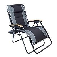 LUCKYBERRY 豪华超大衬垫零重力椅 XL 黑色棕色杯座休息室庭院椅户外庭院海滩支撑 350 磅 ALD001G