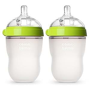 Comotomo 可么多么奶瓶,绿色,适用年龄:3-6个月,8 Ounces(227g)两只装