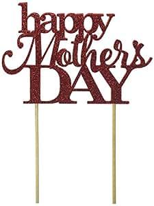 All About Details Happy Mother's Day 蛋糕装饰,1 件蛋糕装饰,派对装饰,闪光装饰 红色 不适用 CATHMDA