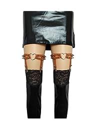 大码胖大腿女士吊带女孩性感皮革心形吊袜带朋克摇滚铆钉腿环 2 件