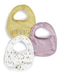 Mamas and Papas 女婴 3 件套刺猬印花围嘴颈带,黄色(Mustard Sggp),一包 1 件装 3 件装