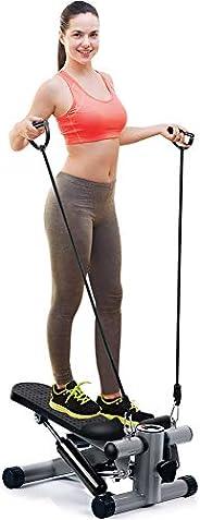 OMMO 可調節樓梯踏步器 健身有氧運動訓練器 帶阻力帶 迷你踏步器 適用于室內鍛煉