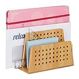 Relaxdays 竹制文件架 2 个穿孔隔层 实用信件架 办公室用品 信夹 DIN A5 自然