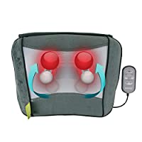 HoMedics 指压按摩枕,多用途深层揉捏指压按摩垫,舒缓热敷,放松背部,颈部,肩部,腰部和腿部肌肉,带遥控器 - 灰色