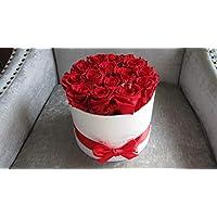 Everlasting Real Preserved White Roses 圆形白色 8 英寸盒子,送给她的*佳礼物,适合周年或生日,永恒,无香料,不需要水,手工制作。