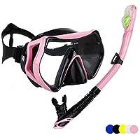 WACOOL 潜水套装适合成人,防雾涂层玻璃潜水面罩、带硅嘴塞的*管套件、清除阀和防溅水。