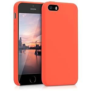 kwmobile 硅胶手机壳适用于苹果 iPhone SE / 5/ 5S–TPU 保护套带橡胶套–覆盖黑色 .neon orange