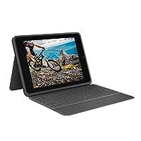 Logitech 罗技 Rugged Folio – iPad(* 7 代)保护键盘保护套,带智能连接器和耐用的防溅键盘 石墨色