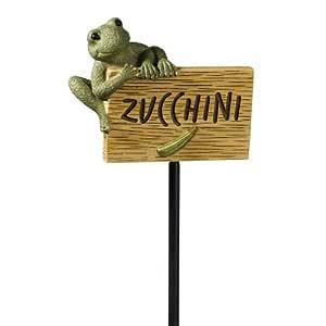 Grasslands Road Frog Figurine Zucchini 花园记号笔,27 英寸,3 件套