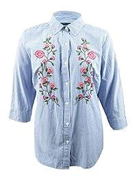 Karen Scott 加大码棉刺绣衬衫