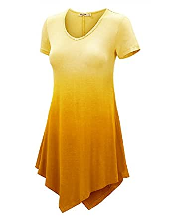 LL Womens Short Sleeve All Over Tie-Dye Ombre Tunic Shirt - Made in USA Wt1051_yellow Small