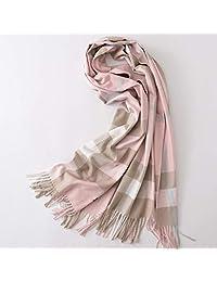 唐岚 秋冬季新款英伦格子羊绒围巾女韩版百搭长款加厚羊毛围脖披肩两用