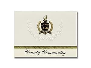 签名公告县社区(加利福尼亚普利茅斯,加利福尼亚州普利茅斯)毕业公告,总统风格,25 件装基本包装带金色和黑色金属箔封条