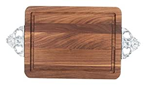 """CHUBBCO W200-SC-NI Thick Bar/Cheese Board with Scalloped Cast Aluminum Handle, 9-Inch by 12-Inch by 3/4-Inch, Monogrammed """"BLANK"""", Walnut"""