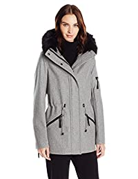 Calvin Klein 女士防皱羊毛人造皮饰边外套
