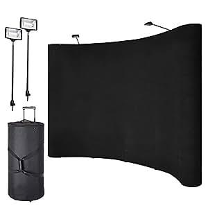 Pinty Trade Show 展示台 聚拢面料 弯曲展览横幅 聚光灯黑色 8' Display Booth