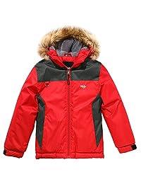 Wantdo 男童防水滑雪夹克冬季外套连帽雨衣,带反光条纹