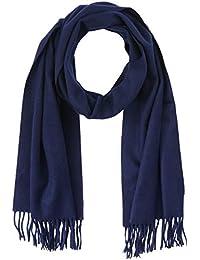 Calvin Klein 男士围巾经典羊毛围巾 M,蓝色(深*蓝 448),均码