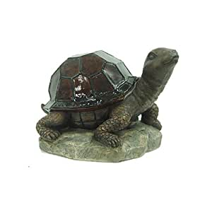 Allen Group Intl AG55614-02T Solar Lawn Ornament, Stained-Glass Turtle, 7.5 x 7.2 x 7.2-In.