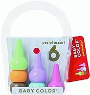 AOZORA 日本制造进口生活创意文具 Baby Color儿童粉色系彩色积木无毒无害6色蜡笔