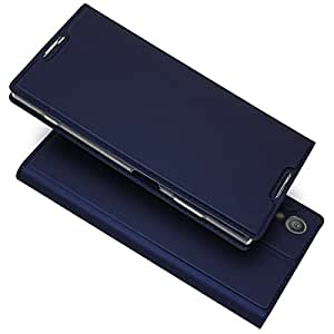 iPhone 6 手机壳,UNEXTATI iPhone 6S 高级皮革手机壳,书籍风格超薄纯色手机壳带支架功能,适用于 Apple iPhone 6 / iPhone 6S Sony Xperia XZ1 Premium #4 蓝色