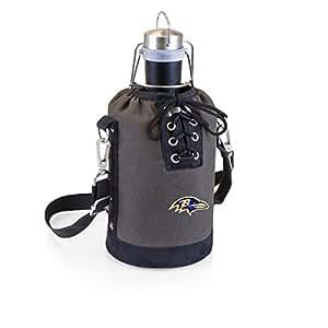 PICNIC TIME NFL 巴尔的摩乌鸦不锈钢64.78 克哑光黑色杂货车灰色/黑色帆布系带手提袋