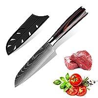 KEPEAK 三德刀 5 英寸(约 12.7 厘米),厨房切菜刀 适用于蔬菜水果切削,高碳钢,Pakkawood 手柄