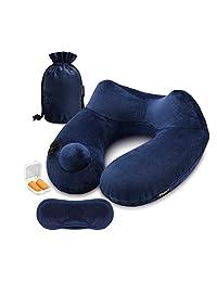 Philorn 充气旅行枕,自我充气,无吹气,空气枕,颈枕,带天鹅绒罩/眼罩/耳塞,头部支撑,适合睡在训练/飞机/办公室时使用