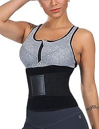 Wonder-beauty 女士塑身衣束腰运动腰带压缩带腹部束带 黑色 Medium