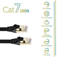 Cat 7 以太网电缆 10GB *快速屏蔽 STP 计算机互联网电缆扁平局域网网线,带无声 Rj45 连接器 黑色 100 英尺 30 米 黑色 50 Ft