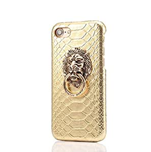 Losin iPhone 7 / iPhone 8 4.7 英寸保护壳超薄时尚奢华 3D 狮子头金属环座蛇皮质地 PU 皮支架手机壳 iPhone X/iPhone XS 金色