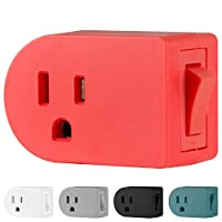 Cordinate 接地插座开/关电源开关,3 Prong,插入适配器,易于安装,适用于室内灯和小型家电 珊瑚色