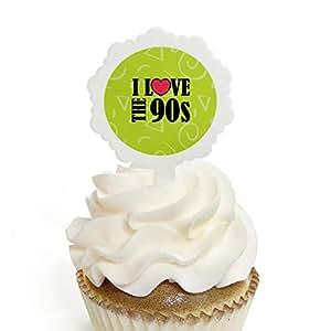 90 年代 Throwback - 纸杯蛋糕插牌带贴纸 - 1990 年代派对纸杯蛋糕装饰 - 12 件