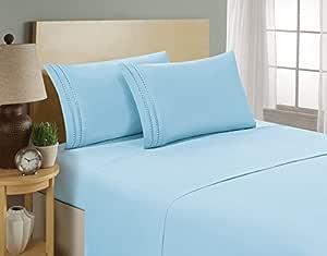 奢华4件套床单套装 ON 亚马逊 Elegant COMFORT 链条设计1500支埃及长绒棉品质抗皱和褪色,45.72cm 袋深,防*–单人床款,双人床,中号双人床,大号双人床,加州大号双人床