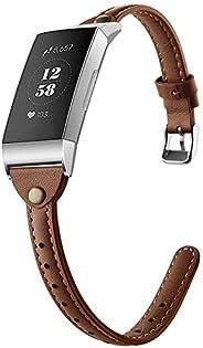 GHIJKL 兼容 Fitbit Charge 3 指环,超薄真皮替换腕带,经典铆钉腕带,运动腕带配件,适用于 Fitbit Charge 3,女士男士