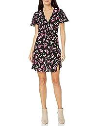 A X Armani Exchange 女式 V 領修身喇叭連衣裙帶荷葉邊袖