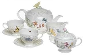 Lenox 蝴蝶草地8件茶具套装 8-Piece Tea Set, Service for 2