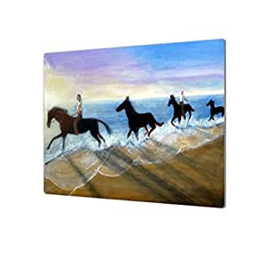 ArtWall Lindsey Janich 'Horses on The Beach Painting' Artmetalz Aluminum Print, 14 by 18""