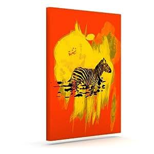 "Kess InHouse Frederic Levy-Hadida""水彩红色""斑马户外帆布墙艺术 10"" x 12"" 红色 FH1002CAC02"