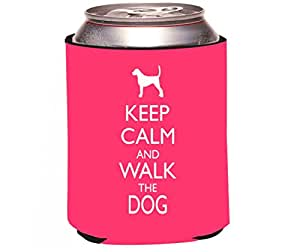 """Rikki Knight """"Keep Calm and Walk The Dog Tropical Pink Color Design"""" Beer Can Soda Drinks Cooler Koozie"""