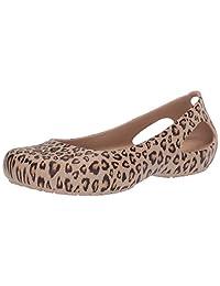 Crocs 卡骆驰女式 Kadee 豹纹印花休闲正装鞋|舒适时尚平底芭蕾鞋