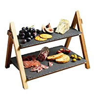 Artesà 2层木制蛋糕/防粘贴支架,带板条餐盘,40 x 30 x 25 厘米