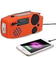 Tiemahun 便攜式太陽能應急手動曲柄 AM FM NOAA 天氣收音機適用于家庭戶外,帶 LED 手電筒,2000 mAh 移動電源 USB 充電器,SOS 報警,電池顯示和耳機插孔功能(橙色)