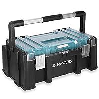Navaris 工具箱 20 英寸 - 51 厘米塑料工具箱,透明盖子可拆卸收纳盒托盘,储物隔层和金属折叠手柄