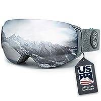 WildHorn Outfitters Roca 滑雪护目镜和滑雪护目镜 - 高级滑雪护目镜男士,女式儿童。 功能快速更换磁镜系统集成夹锁。