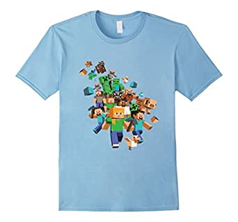 Minecraft Shirt Youth, Minecraft Tee Shirt Adult and Kids V1 - Male Medium - Baby Blue